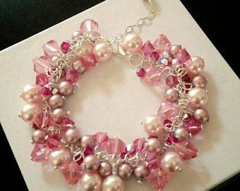 Swarovski Pink Swarovski Crystal & Pearl Cluster Bracelet