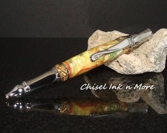 Chrome and 24k Gold Citrus Elegant Art Noveau  Twist Pen