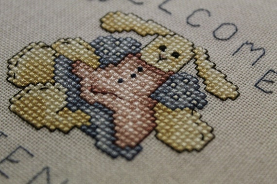 Welcome Friends Finished Cross Stitch - Cute Country Bunny designed by Lynn Waters Busa