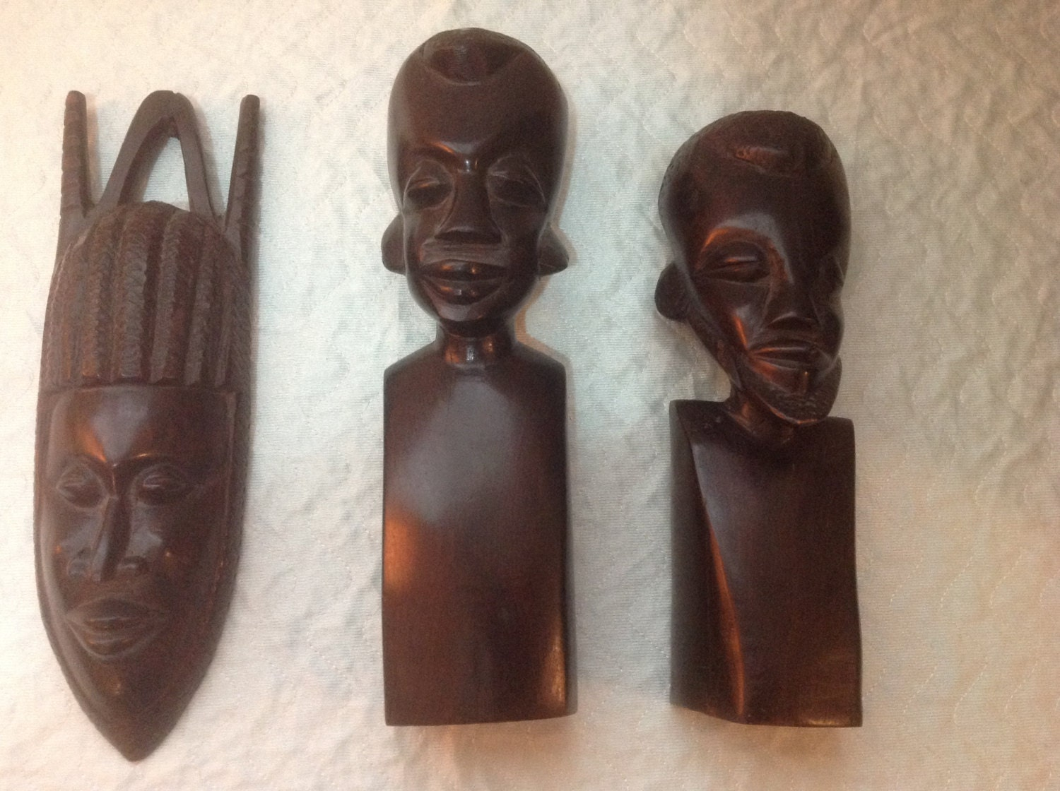 Mid century african hand carved ebony sculptures