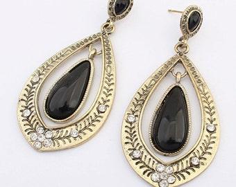 earrings ,brass earrings black and brass drop earrings , fashion earrings , evening earrings