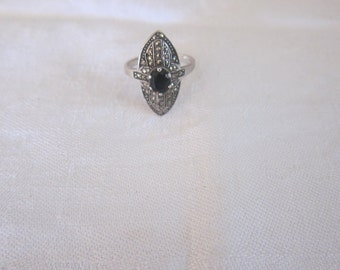 antique solid silver ring and Marcasite, vintage jewelry women t 56