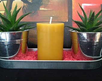 Beeswax Candle. Beeswax pillar Candles, pure bees wax candles, 4.25 inch tall