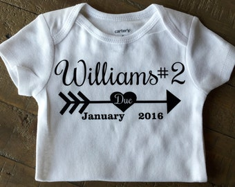 Pregnancy Announcement - customizable with last name and number