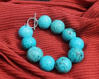 Retro Round Turquoise Beaded Bracelet