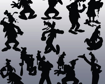 12 Goofy Silhouette Clipart Images, Clipart Design Elements, Instant Download, Black Silhouette Clip art