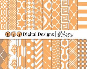 Light Orange Paper, Orange Rajah Digital Scrapbook Paper, Decorative Paper, Digital Paper Pack, Digital Paper, Scrapbook Paper
