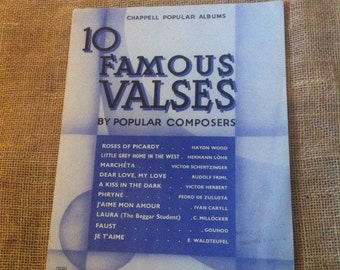 Vintage Sheet Music Book For Piano Players. Gift. 10 Famous Valses By Popular Composers. Published 1919.