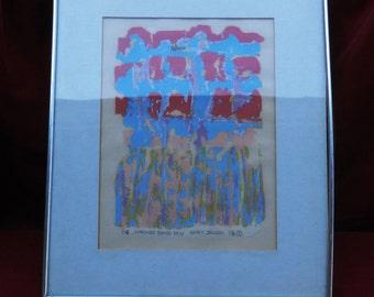 "Vintage Limited Edition Print ""Checker Board Rain"" by Kathy Janzen                00478"
