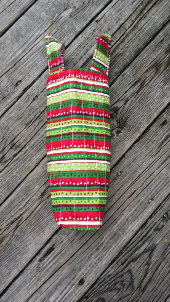 Holiday Striped Quilted Wine Tote / Holiday Wine Bag / Holiday Hostess Gift / Wine Gift Bag / Striped Gift Bag