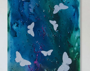 Original Butterfly Painting in Blue Green and Silver Acrylic 36x24 Canvas