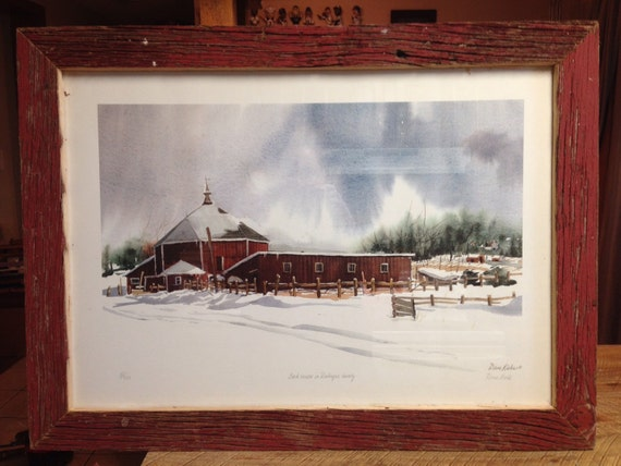 """Reclaimed Barn Wood """"Back Roads to Dubuque"""" Picture Frame"""