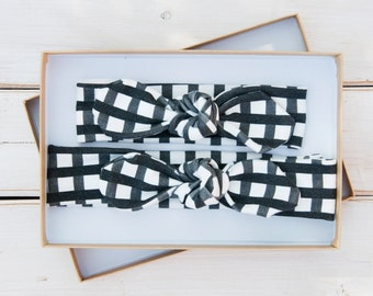 Mommy and Me Baby Knot Headband Set - Organic Cotton - Adult Jersey Headband - Baby Girl Headwrap - Toddler Turban - Black and White Gingham