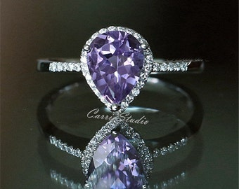 Pear Amethyst Ring Natural Amethyst Engagement Ring/ Wedding Ring Sterling Silver Ring Anniversary Ring Promise Ring