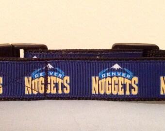 1 Inch 11-15 Adjustable Denver Nuggets Grosgrain Dog Collar
