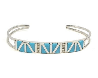 Zuni Turquoise Channel Inlay Bracelet by Wilbert Suetza