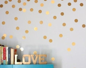 Gold polka dot decals, vinyl decals, black polka dot decal, gold dot decals, wall decals, two inches dots vinyl, metallic gold decal