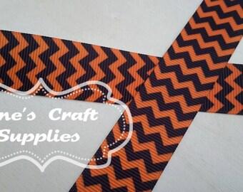 "5 Yards - 7/8"" Black and Orange Chevron, Hair Bow Supply, Craft Supply, Grosgrain Ribbon, Zig Zag Print"