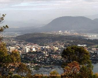 "Tasmania Photography, ""Hobart, Tasmania Australia from Signal Hill"" Print, Tasmania Print, Travel Wall Art, Gifts for Travelers"
