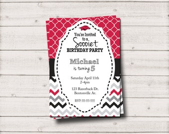 Sooiet Birthday Party Invite Razorback Birthday Invitation - Inv003