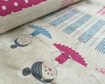 Trefle Ballerinas Pink Panel for Kokka Fabric