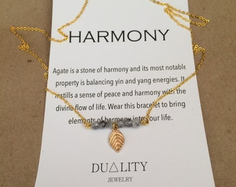 Leaf and Agate Harmony Necklace