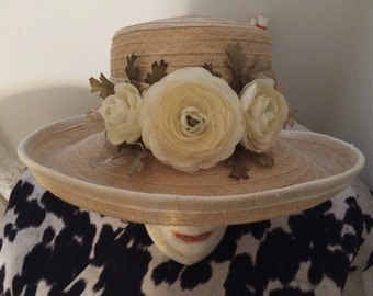 Ivory Rose & Straw Hat by Toucan Collection New York