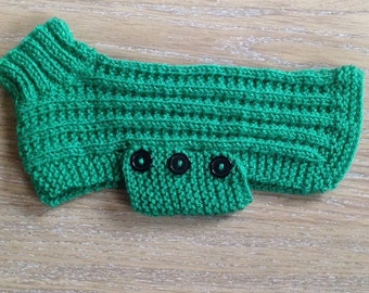 New hand-knitted tiny/small dog jumper. Green