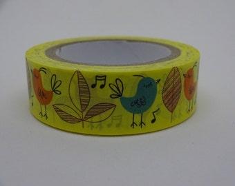Yellow Washi masking white tape with birds and flowers 10 m/11 yards crafting decorative tape cardmaking tape scrapbook tape summer washi