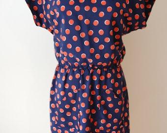 Navy Blue Polka Dot Print Dress