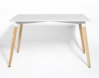 Mid-Century Dining Table - Tapered Wood Legs - Eames Inspired DSW Style Table