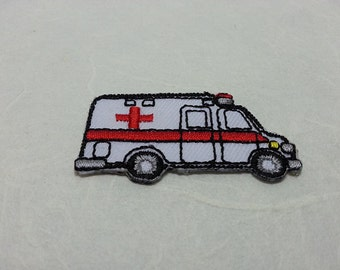 Ambulance Iron on Patch (S) 4.7 x 2.5 cm - Ambulance Applique Embroidered Iron on Patch