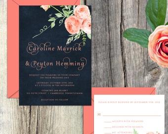 Wedding Invitation Suite, Wedding Invitation, Navy Blue & Coral Watercolor Peonies Wedding Invitations, 003