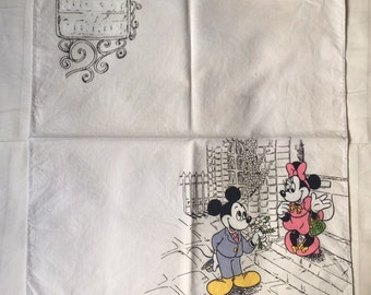 Vintage Walt Disney Productions Mickey and Minnie Mouse Handkerchief