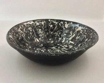 Black and Silver Flat Bottom Fused Glass Vessel Sink or Bowl