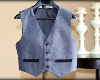 Grey vest for baby toddler, Ring bearer vest, Grey vest for boys, Girls grey vest, Christmas outfit, Birthday outfit, Crochet vest baby vest