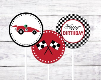 "Race Car / Racing 2"" Cupcake Toppers (Printable Cupcake Toppers)"