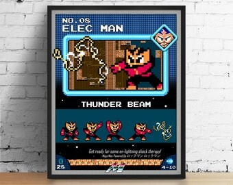 Mega Man poster, Nintendo art, video game poster, classic game print, pixel art, Elec Man, kids room poster, game room art