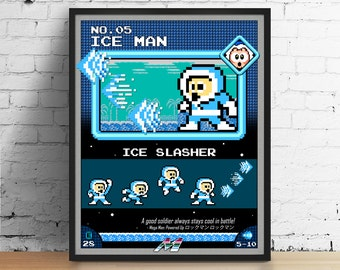 Mega Man poster, Nintendo art, video game poster, classic game print, pixel art, Ice Man, kids room poster, game room art