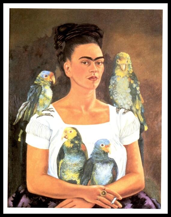frida kahlo 1941 malerei meine papageien und ich vintage. Black Bedroom Furniture Sets. Home Design Ideas