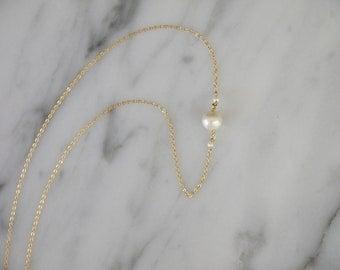 Single pearl chain choker necklace