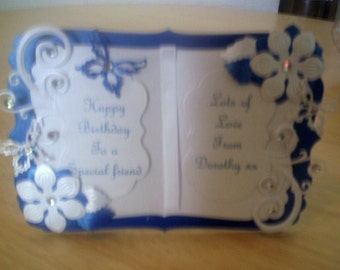 Blue and white book card