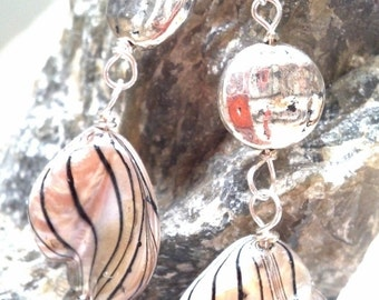Shell and pewter striped dangles