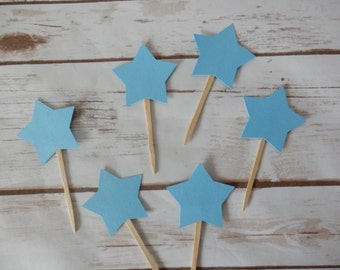 Blue Star Cupcake Toppers - Birthday - Baby Shower