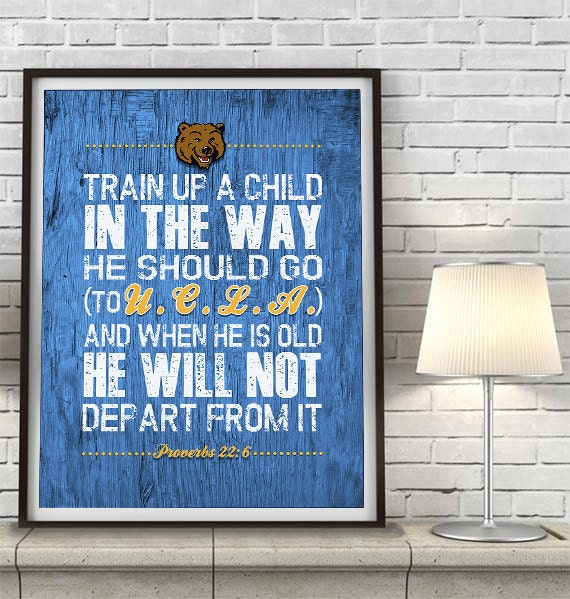 Ucla bruins inspired art print train up a child by Bruins room decor