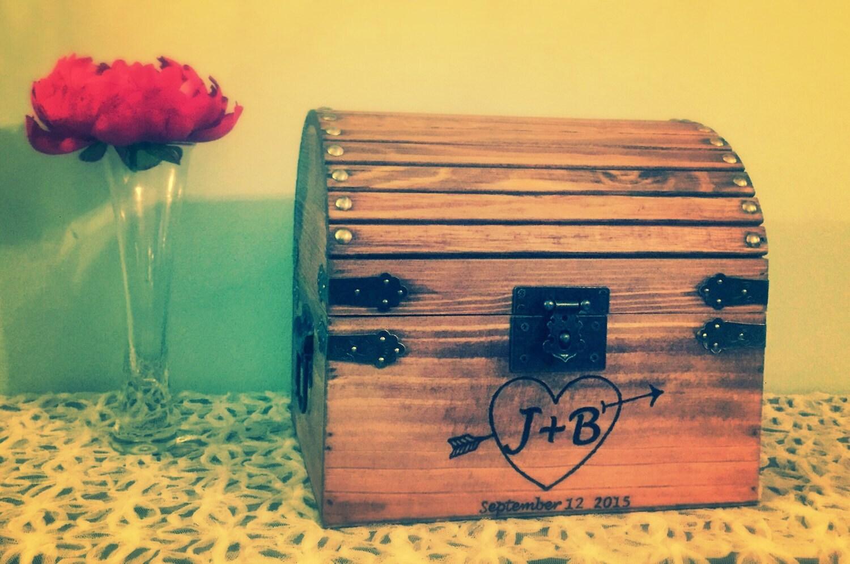 Treasure Chest Wedding Gift Card Box : Lockable treasure chest wedding card box rustic wedding box