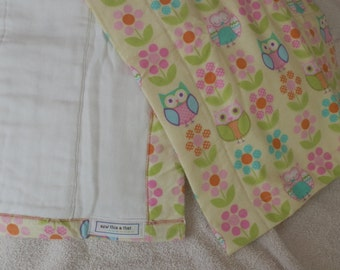 Owls and Flowers  Burp Cloth