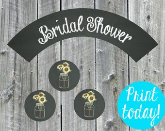 Chalkboard Mason Jar Sunflower Cupcake Wrapper and Toppers, Bridal Shower, Printable Wrappers - Digital File