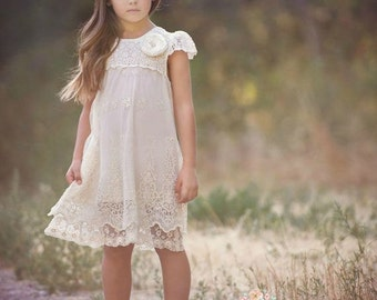 Ivory lace dress, Baptism girl,rustic flower girl dress  girls lace dress, Ivory lace dress,christening dress, flower girl dress, baby dress