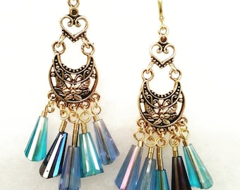 Chandelier Earrings, Antique Gold, With Blue Glass Czech Beads